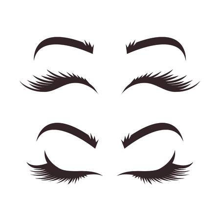 Different types of variation of eyebrows and eyelashes models. Black line icons illustration isolated graphic design set. Beauty industry concept Ilustração