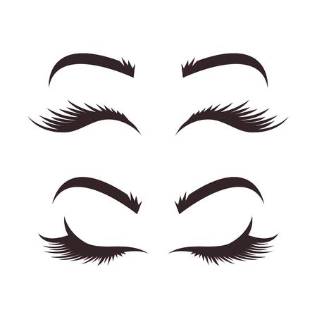 Verschiedene Variationen von Augenbrauen- und Wimpernmodellen. Schwarze Linie Symbole Illustration isoliert Grafikdesign-Set. Konzept der Schönheitsindustrie