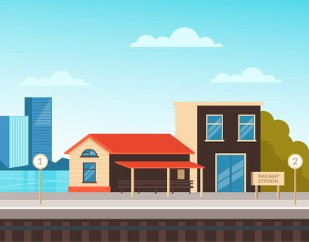 Railway city country station. Urban town transportation concept. Vector flat cartoon graphic design illustration