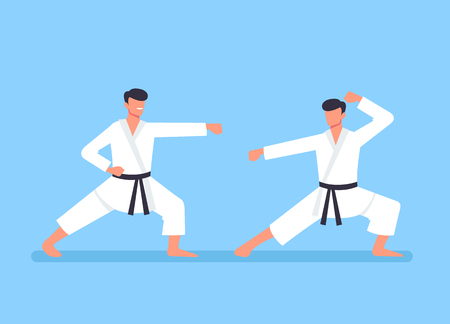 Two sport karate man characters fight. Sport training concept. Vector flat cartoon graphic design illustration