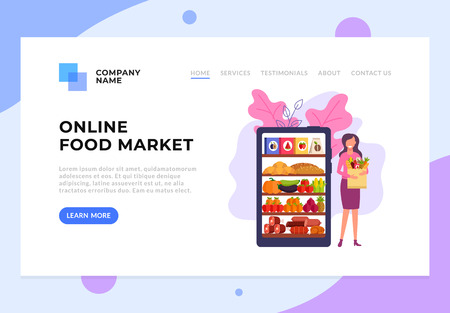 Happy smiling woman holding bag with food. Online web food delivery concept. Vector flat cartoon graphic design illustration Vecteurs