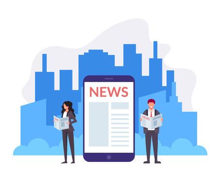 Due uomini d'affari impiegati e donne che leggono notizie online. Giornale del mattino concetto. Illustrazione di design grafico piatto vettoriale Vettoriali