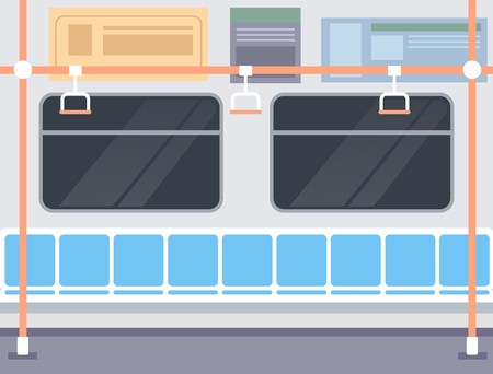 Railway carriage railway station metro underground concept. Vector flat graphic design illustration