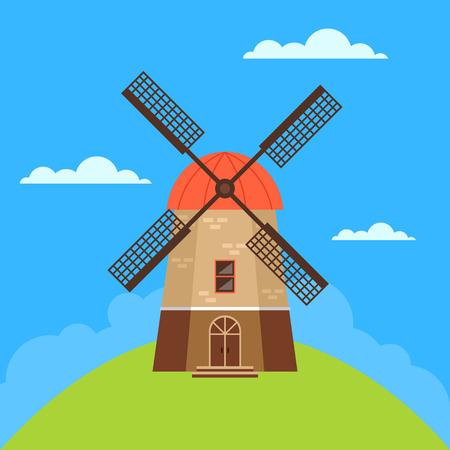 Notion de moulin à vent. Illustration de conception graphique de dessin animé plat de vecteur