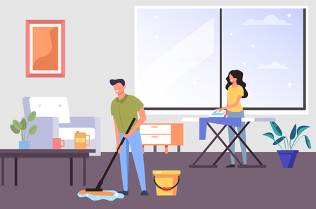 An apartment for cleaning people together. House work concept. Vector flat graphic design cartoon illustration Иллюстрация