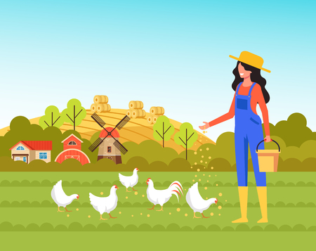 Woman farmer worker character feeding chickens. Farming agriculture concept.