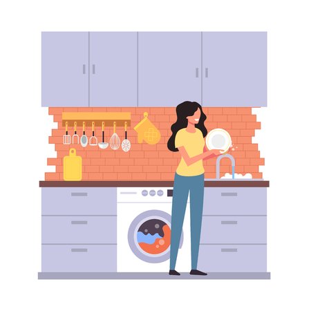Woman housewife character washing dish plate. House work home interior concept. Ilustração