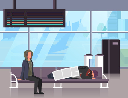 Sleeping on airport railway station. Social homeless poverty concept. Illustration