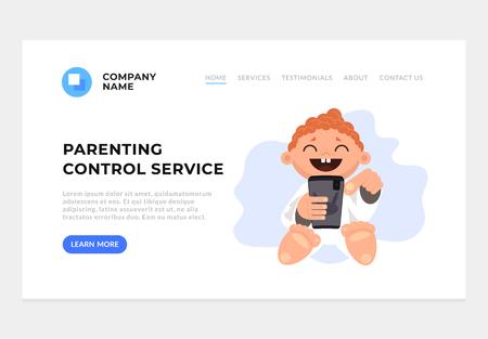 Parenting control web banner landing page graphic design concept illustration