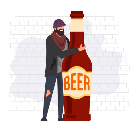 Homeless man alcoholic character hug bottle of beer. Alcohol habit abuse concept. Vector flat graphic design cartoon illustration