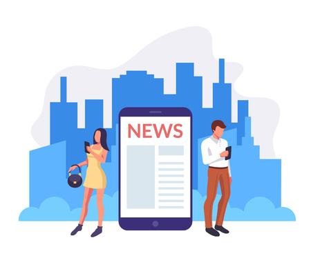 People characters reading morning news. Urban city life concept. Vector flat graphic design cartoon illustration Иллюстрация