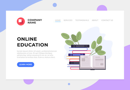 Education online banner web page graphic design concept. Vector flat graphic design cartoon illustration