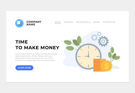 Time to make money web page site concept. Successful business vector flat graphic design cartoon illustration