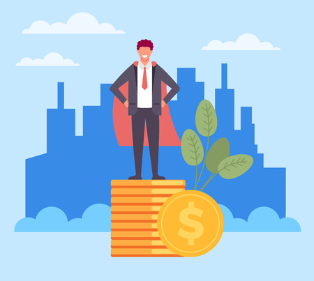 Success businessman character standing on gold coin pile. Successful business concept. Vector flat graphic design cartoon illustration