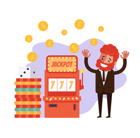 Win casino happy smiling business man character clot machine jack pot. Gambling game concept. Vector flat graphic design cartoon illustration