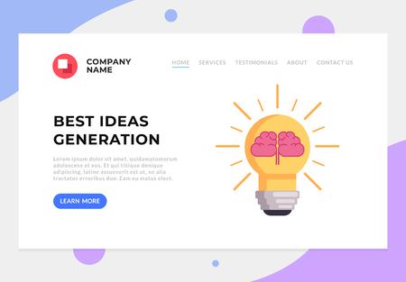 Idea generation web page banner graphic design concept. Vector flat graphic design cartoon illustration Иллюстрация