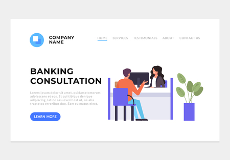 Bank office consultant adviser talking with client. Banking concept. Vector flat graphic design cartoon illustration Иллюстрация