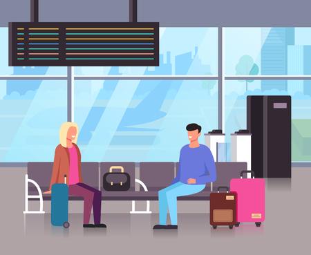 People passengers waiting airplane arriving. Travel tourism trip concept. Vector flat cartoon graphic design illustration
