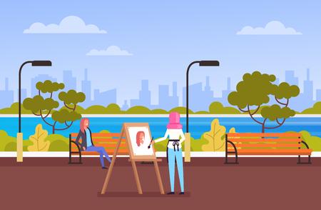 Woman artist character drawing portrait in public park. Vector flat cartoon graphic design illustration