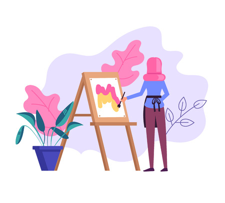 Woman artist character drawing picture. Vector flat cartoon graphic design illustration Ilustração