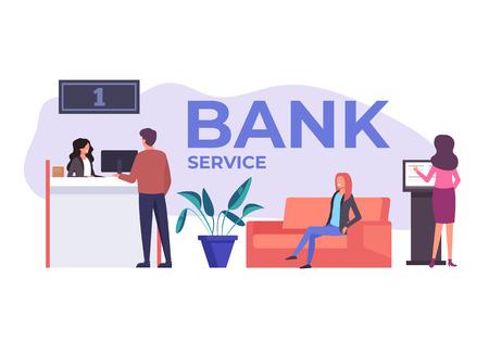 Bank Office. Banking service concept. Vector flat cartoon graphic design illustration Иллюстрация