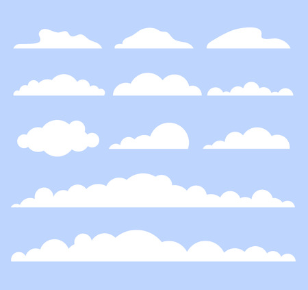 White isolated clouds on blue sky. Vector flat cartoon graphic design illustration