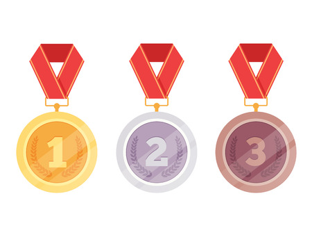 Three medals, golden first place, third place, bronze third place isolated on white background. Vector flat cartoon graphic design illustration