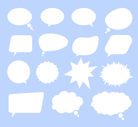 Isolated set of speech bubbles on blue background. Vector flat cartoon graphic design illustration