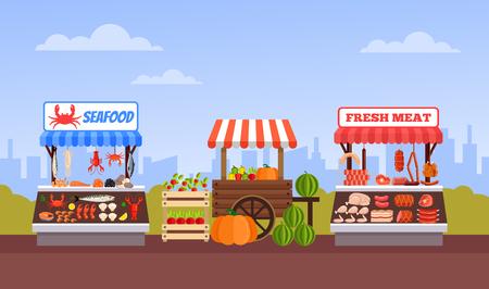 Street food market vegetable meat and fish. Vector flat cartoon graphic design illustration