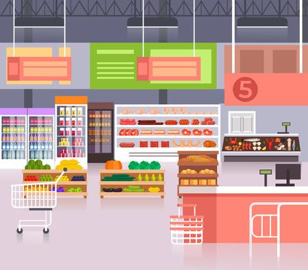 Big empty food supermarket concept. Vector flat cartoon graphic design illustration