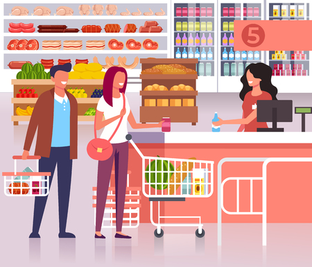 People in the supermarket store. Vector flat cartoon graphic design illustration  イラスト・ベクター素材