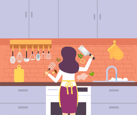 Happy smiling woman housewife cooking. Vector flat cartoon graphic design illustration  イラスト・ベクター素材