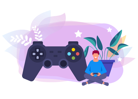 Teen boy man character holding gamepad controller and playing computer games. Vector flat graphic design isolated illustration