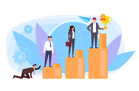 Business people office workers standing stairs. Corporate ladder concept. Vector flat graphic design isolated illustration