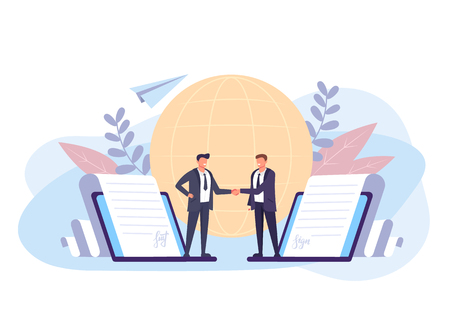 Two businessman people office worker by electronic signature. Business online concept. Vector flat graphic design isolated illustration