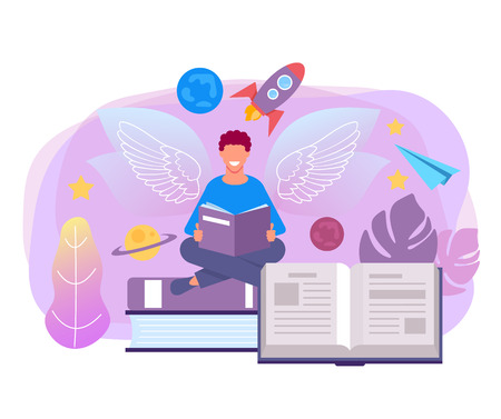 Man student character reading book fairy tale. Imagination education concept. Vector flat graphic design isolated illustration