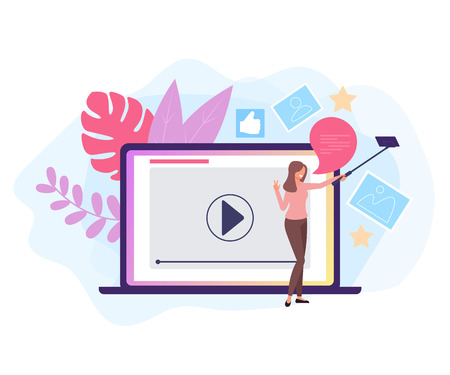 Internet woman blogger character recording video. Online stream concept. Vector flat graphic design isolated illustration