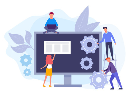 IT team working on web site development. Seo optimization concept. Vector flat graphic design isolated illustration