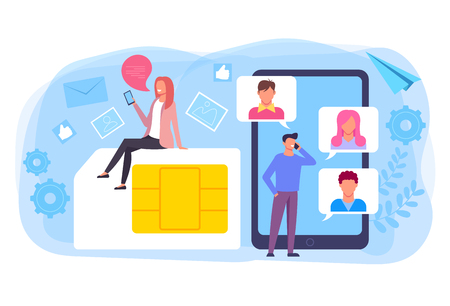 Two people man and woman character chatting online. Internet communication mobile sim card network concept. Vector flat graphic design isolated illustration