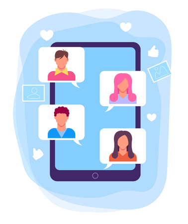 Chatting talking by smartphone internet. Online communication network concept. Vector flat graphic design isolated illustration
