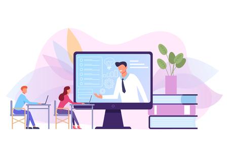 Succesvol zakenmankarakter voert online videocursustraining uit. Vector platte grafische ontwerp geïsoleerde illustratie