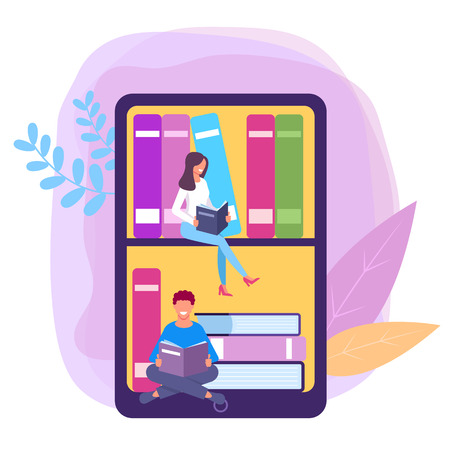 People student reading book on smartphone. Online internet library concept. Vector flat graphic design isolated illustration
