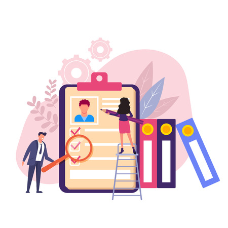 Employers man and woman characters looking for candidate. Head hunting recruitment concept. Vector flat graphic design isolated illustration Иллюстрация