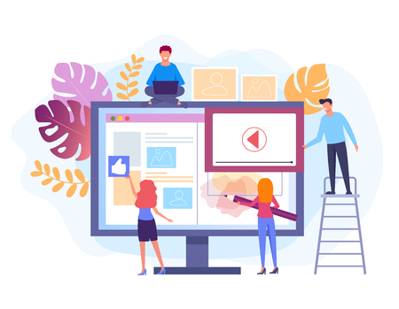 People characters working at web site project. Web development concept. Vector flat graphic design isolated illustration Иллюстрация