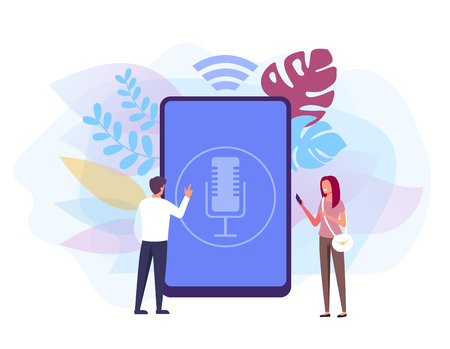 Voice control concept. Vector flat graphic design isolated illustration Иллюстрация