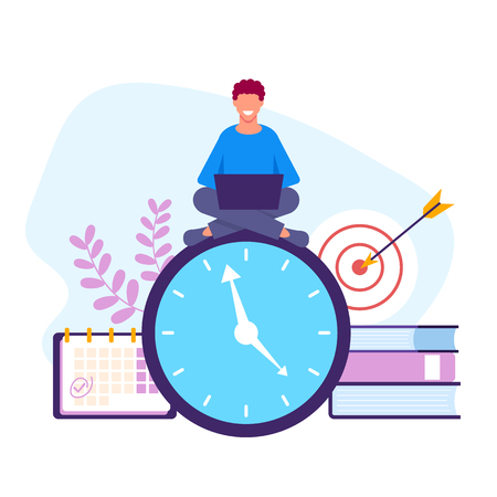 Time management concept. Vector flat graphic design isolated illustration Иллюстрация