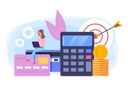 Online banking management concept. Vector flat cartoon graphic design banner poster illustration
