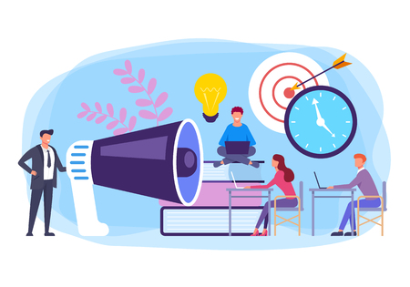 Office workers team characters working together. Business management concept. Vector flat cartoon graphic design banner poster illustration Иллюстрация