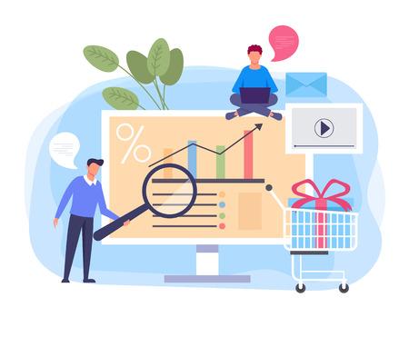 Digital business shopping marketing. Vector flat cartoon graphic design banner poster illustration Иллюстрация