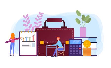Financial analysis business management. Vector flat cartoon graphic design banner poster illustration